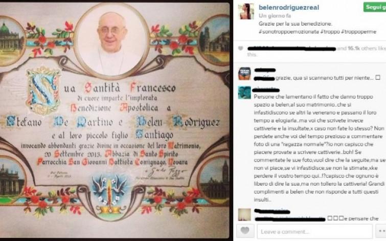 Belen e Stefano: ecco la benedizione di Papa Francesco