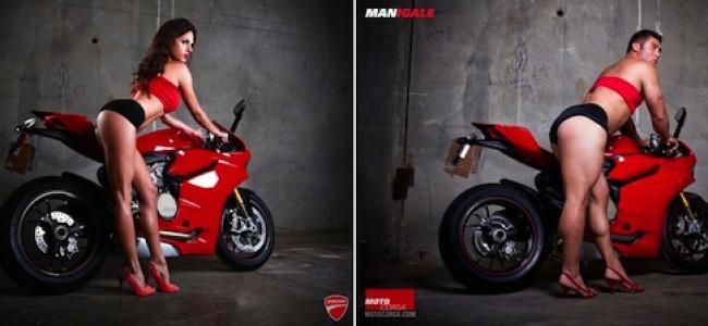 Pubblicità moto, donne e uomini posano nella stessa posizione sexy [FOTO]