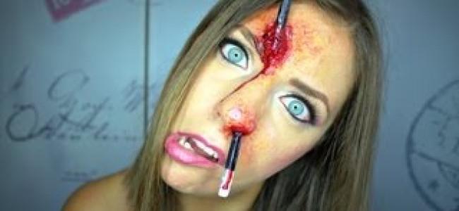 Halloween: che succede se si infila una matita su per il naso? (VIDEO)