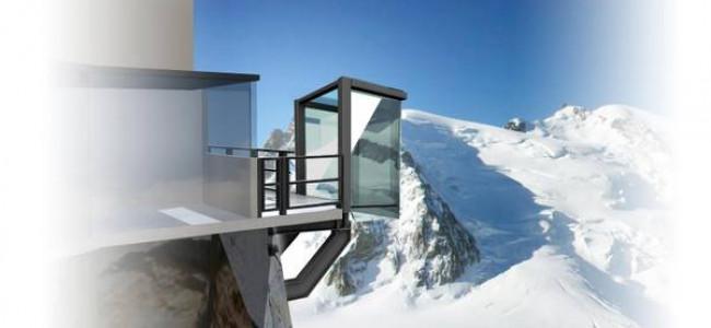 Una bolla di vetro nel vuoto sul Monte Bianco