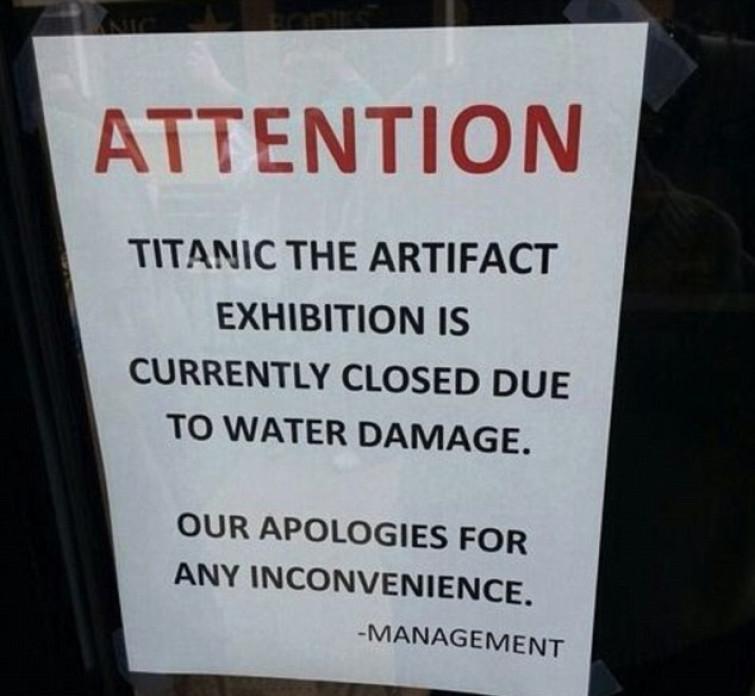 Atlanta, mostra sul Titanic chiusa per infiltrazioni d'acqua