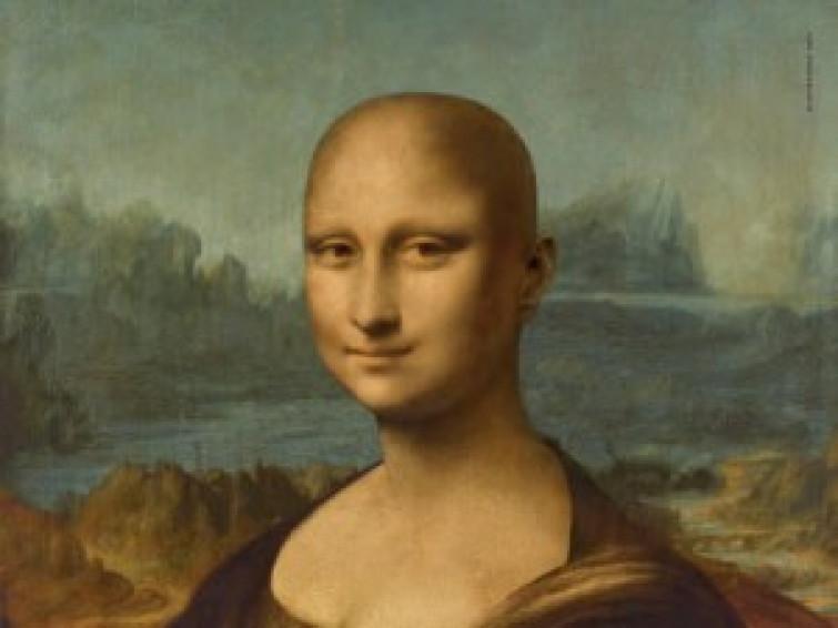 La Gioconda senza capelli per l'Associazione Nazionale Tumori