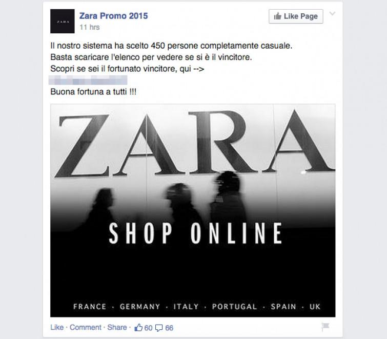 Occhio al fake: Come vincere 500€ da spendere da Zara