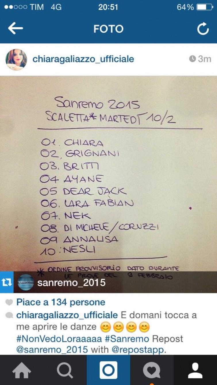 Festival di Sanremo: la scaletta della prima serata