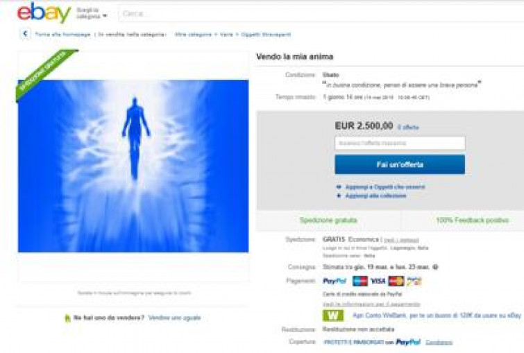 """""""Vendesi anima usata"""": il simpatico annuncio su eBay"""