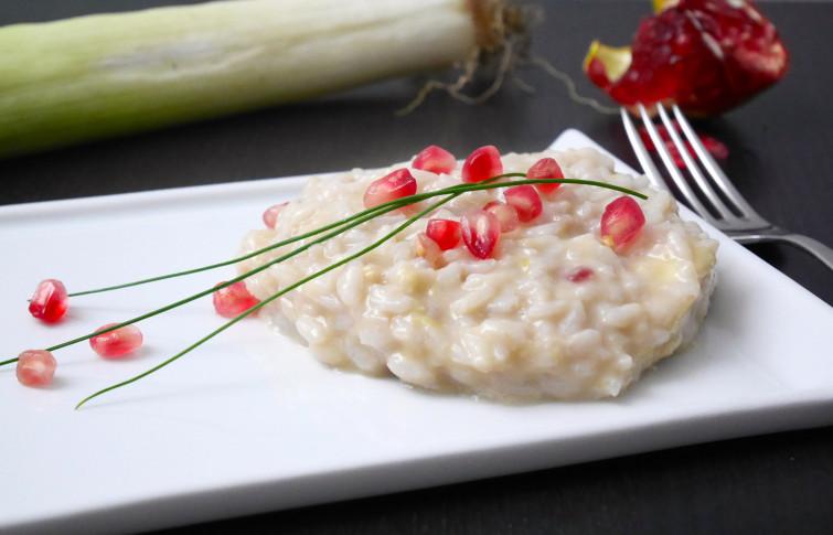 Risotto con porri e melagrana: un piatto leggero ed invernale