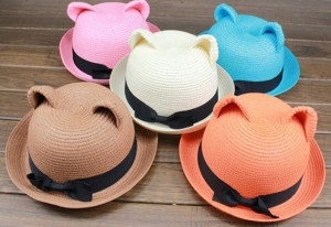 Cute-hat-Cat-Ear-Straw-Bowler
