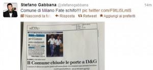 L'IRA DI STEFANO GABBANA CONTRO IL COMUNE DI MILANO SU TWITTER