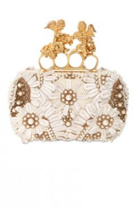 Alexander McQueen Embroidered Silk Knuckle Box Clutch