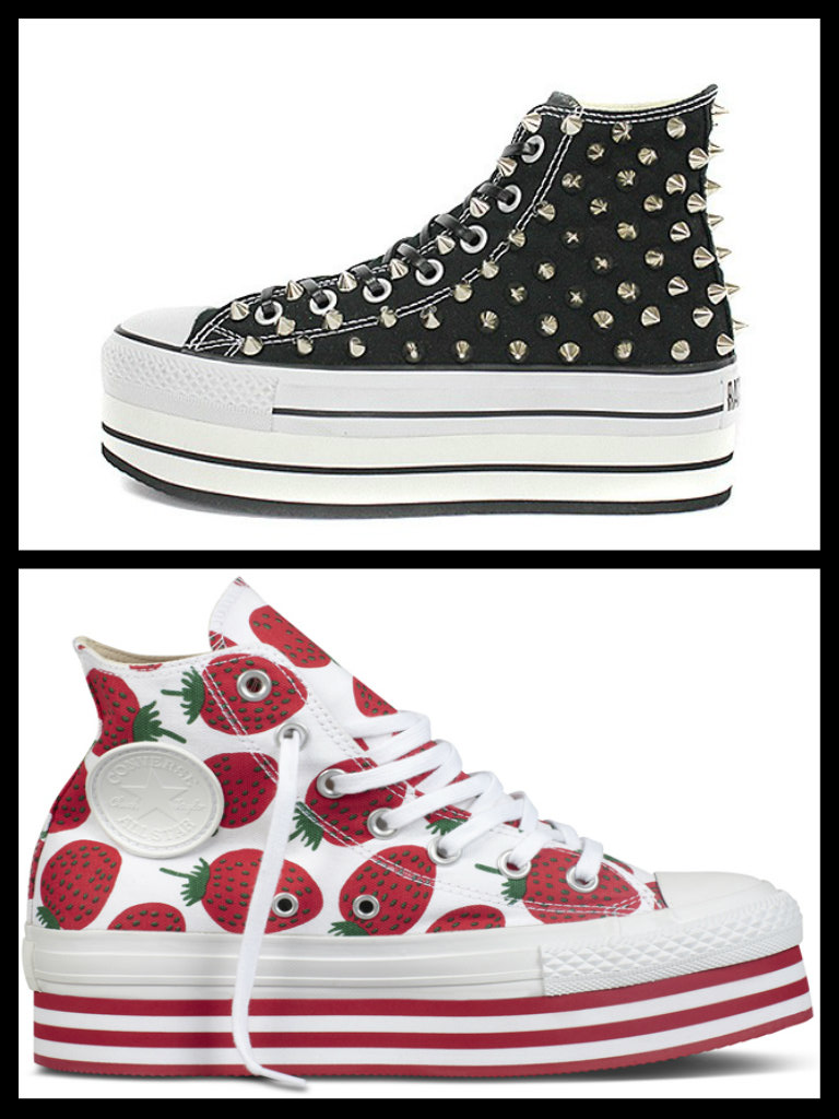 converse all star nere alte bambina